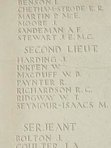 William's name on Tyne Cot memorial