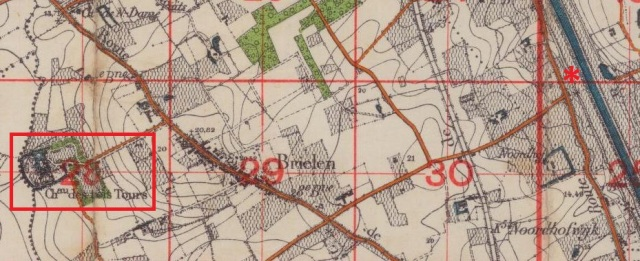 The area the 17th KRRC were in on Christmas Day. Trois Tours chateau marked with red box, Essex Farm with red star
