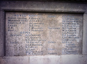 Frank Brock's name on Cheam war memorial