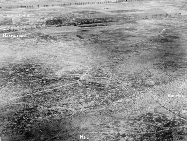 An aerial photo of High Wood and Martinpuich © IWM (Q 61359)