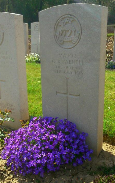 Geoffrey Parnell's headstone in Flatiron Copse Cemtery, Mametz. Photo courtesy of Mark Banning www.mgbtours.com