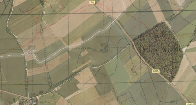 Aerial photo of the area overlaid with a trench map showing the Switch line in red