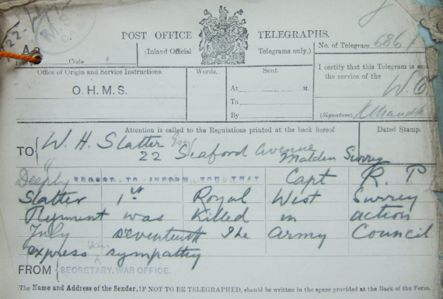 Telegram sent to Roland Slatter's father, notifying him of his son's death